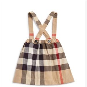 Burberry Beige Check Skirt with Straps/Braces